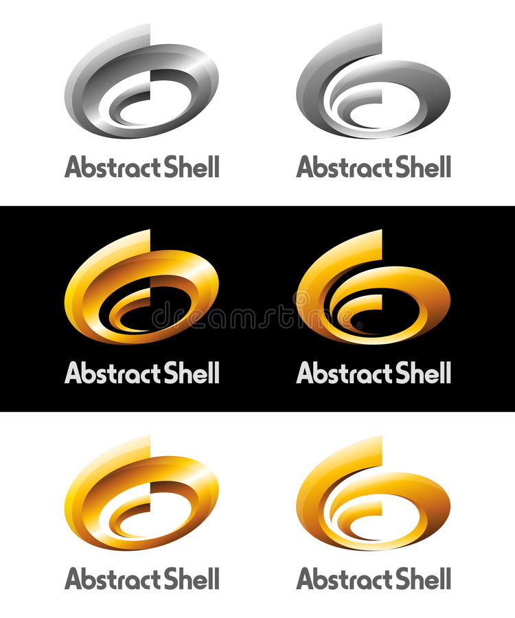 Spriral abstrait Shell Vector Logos et icônes illustration libre de droits