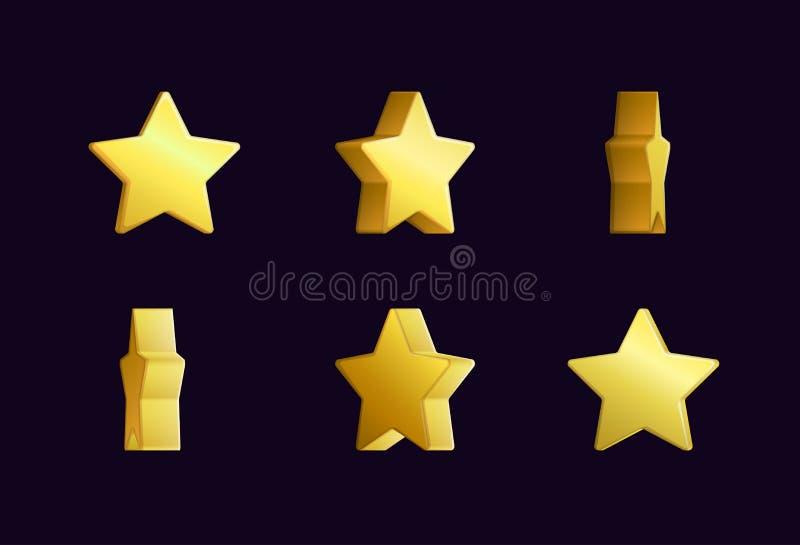 Sprite-bladeffect animatie van een spinnende gouden en ster die fonkelen roteren Voor videogevolgen, spelontwikkeling stock illustratie