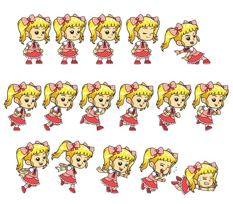 Sprite del gioco della ragazza di Candy illustrazione di stock