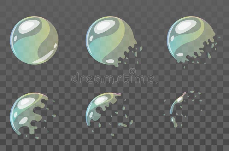 Sprite di scoppio della bolla per l'animazione illustrazione di stock