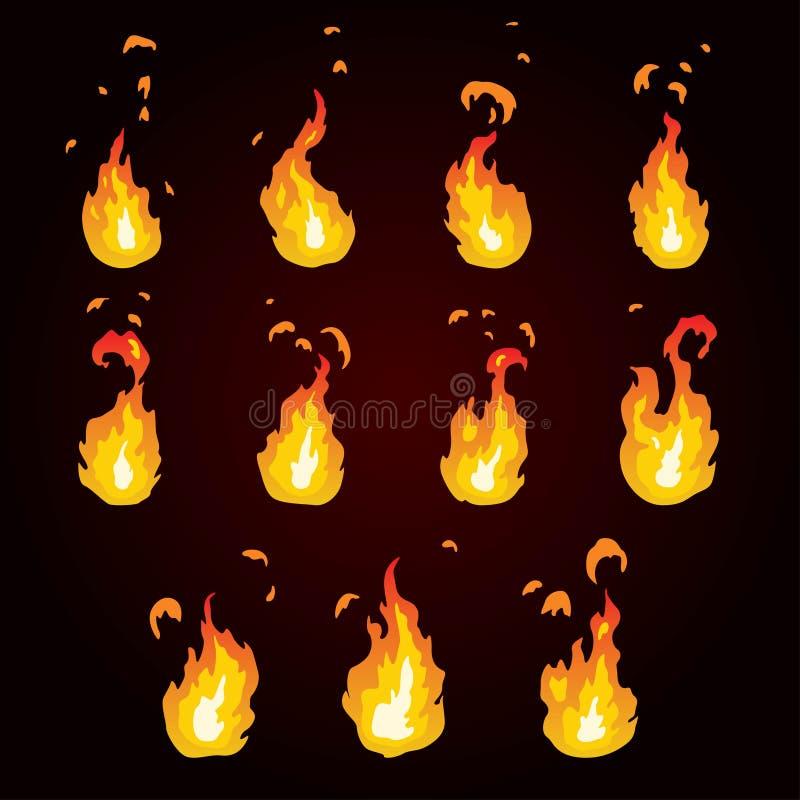 Sprite prześcieradło ogień, pochodnia Animacja dla gry lub kreskówki royalty ilustracja