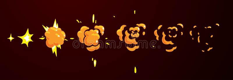 Sprite prześcieradło płaski wybuch Animacja dla kreskówki lub gry royalty ilustracja