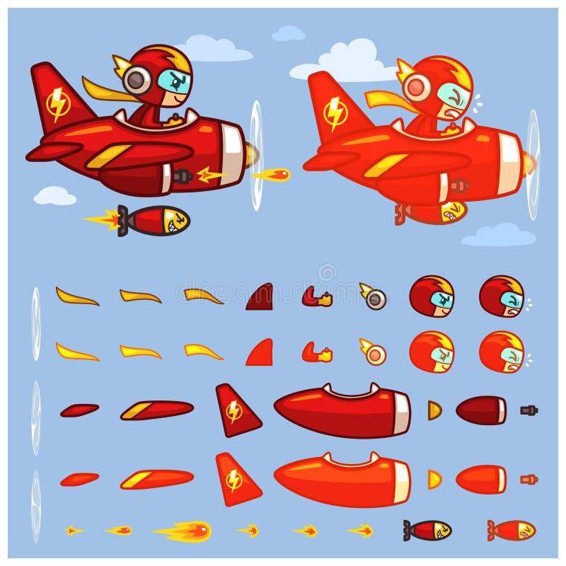 Sprite rosse del gioco dell'aereo di tuono illustrazione vettoriale