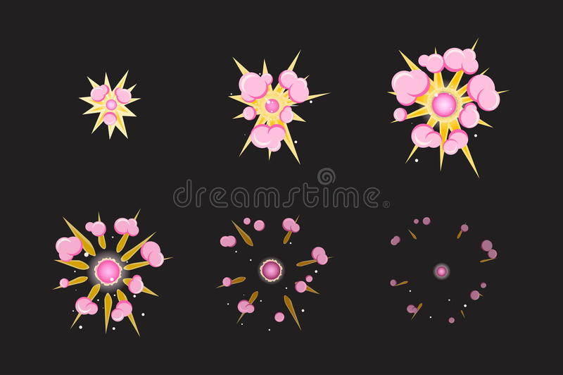 Sprite sheet for cartoon pink fog fire explosion, mobile, flash game effect animation. 8 frames on dark background. vector illustration