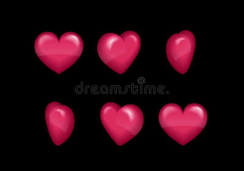 Sprite sheet effect animation of a spinning puffy heart sparkling and rotating. For video effects, game development. royalty free illustration