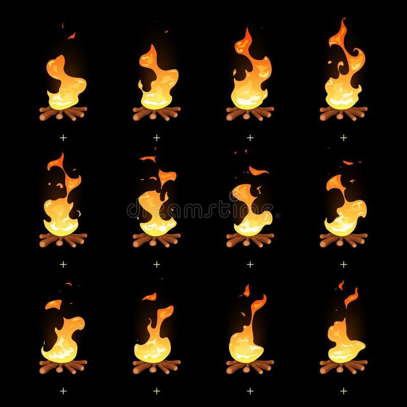Sprites animados de la llama de la hoguera del vector de la historieta stock de ilustración