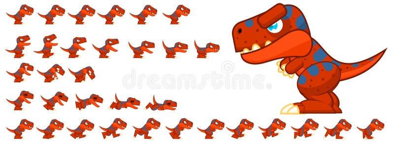 Sprites animados del carácter del dinosaurio libre illustration