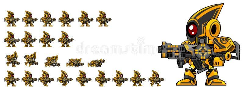 Sprites animados del carácter del robot stock de ilustración