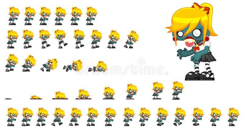 Sprites animados del carácter del zombi stock de ilustración