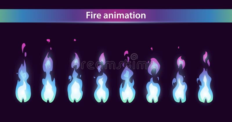 Sprites azules de la animación del fuego stock de ilustración