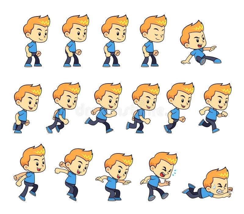 Sprites azules del juego del muchacho de la camisa libre illustration