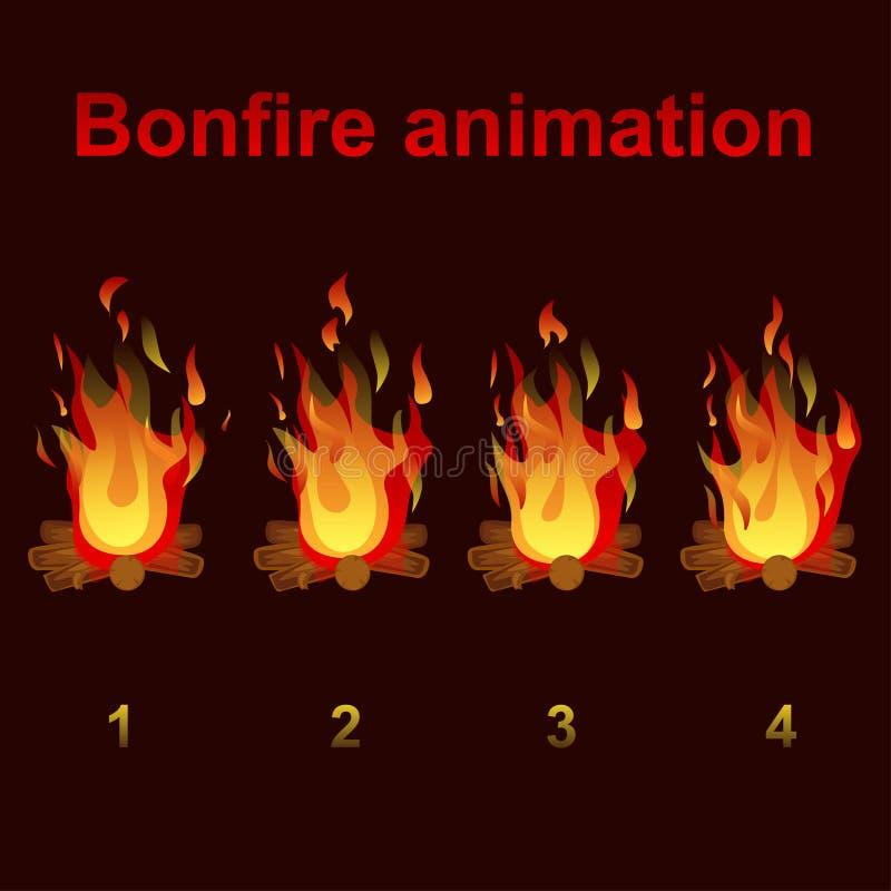 Sprites de la animación de la hoguera, para el diseño de juego ilustración del vector