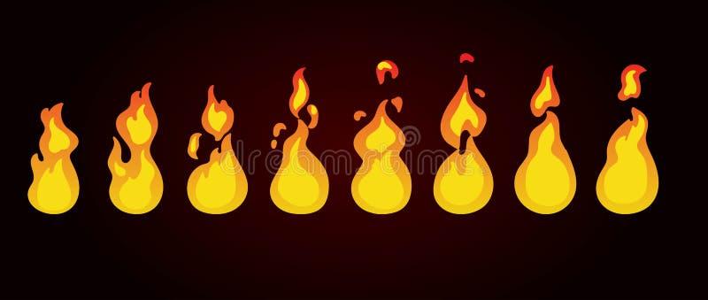Sprites de la animación del fuego Animación para el juego o la historieta ilustración del vector