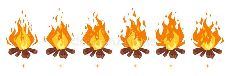 Sprites del fuego del campo para la animación stock de ilustración