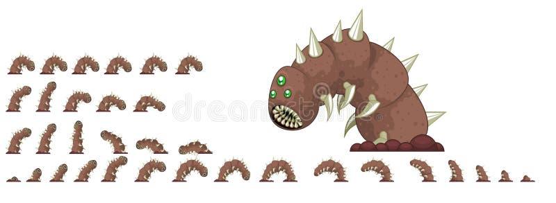 Sprites gigantes animados del carácter del gusano stock de ilustración