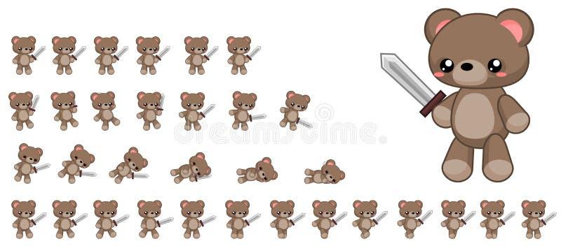 Sprites lindos animados del carácter del oso ilustración del vector