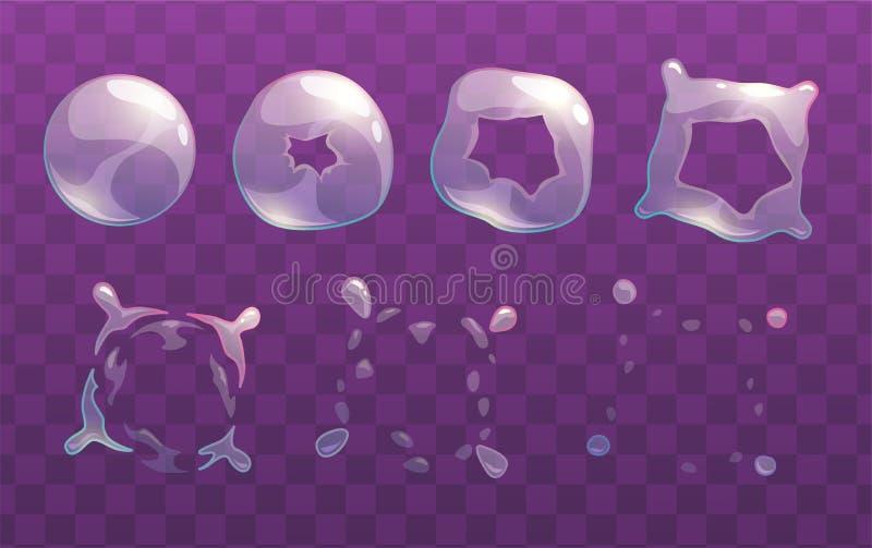 Sprites transparentes de la explosión de la burbuja de jabón ilustración del vector
