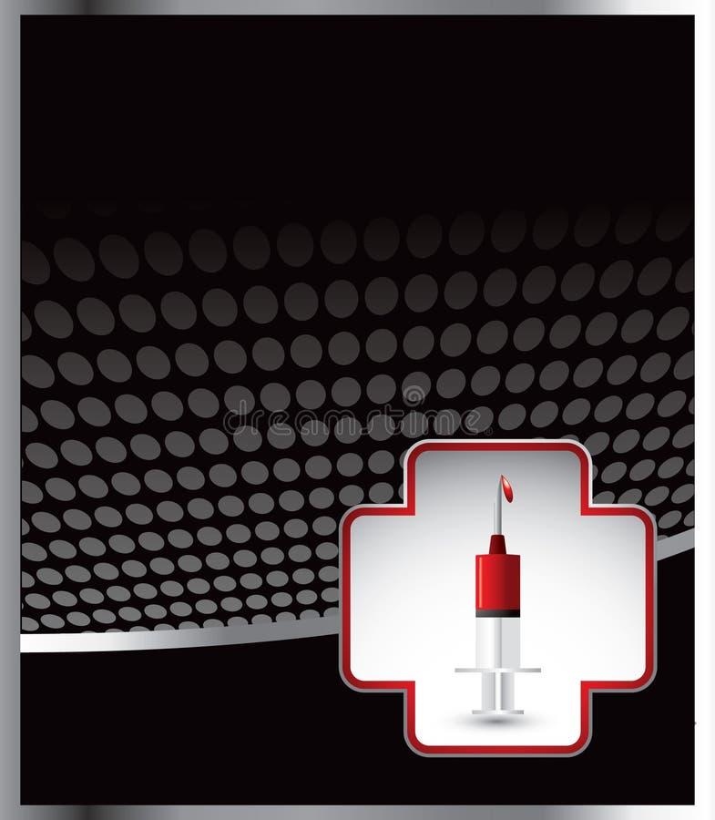Spritze in der Ikone der Ersten ERSTE HILFE auf schwarzer Halbtonfahne lizenzfreie abbildung