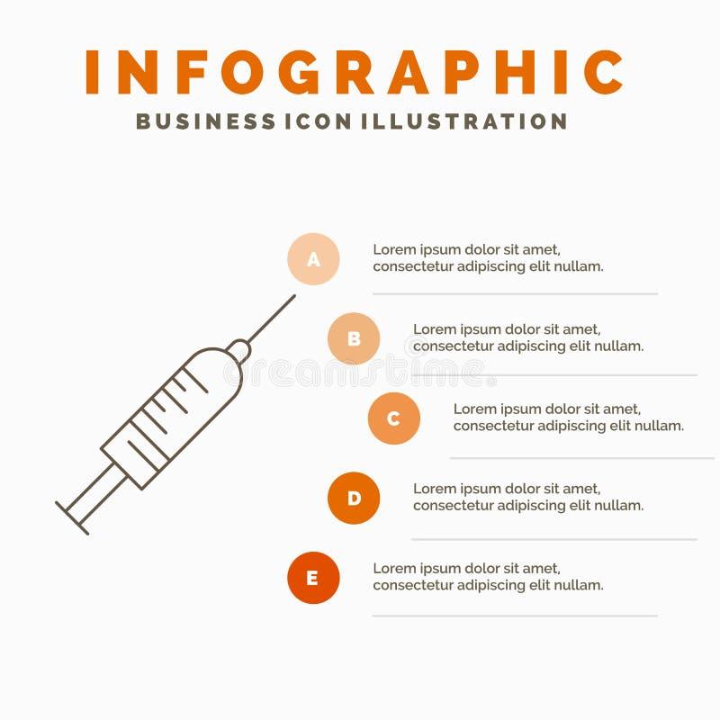 Spritze, Einspritzung, Impfstoff, Nadel, Schuss Infographics-Schablone f?r Website und Darstellung Linie graue Ikone mit Orange lizenzfreie abbildung