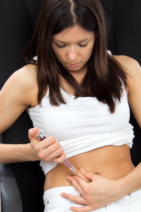 Spritze-Insulineinspritzung des Abdomen subkutane lizenzfreies stockfoto