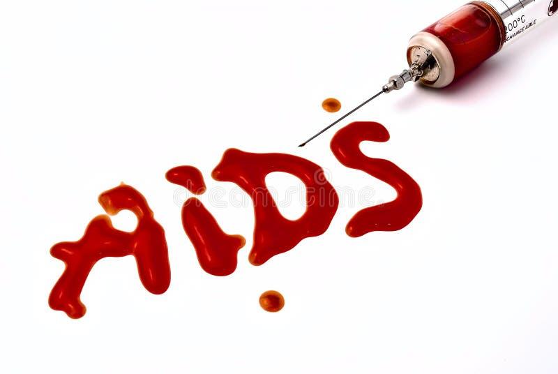 Spritze mit Blut stockfoto
