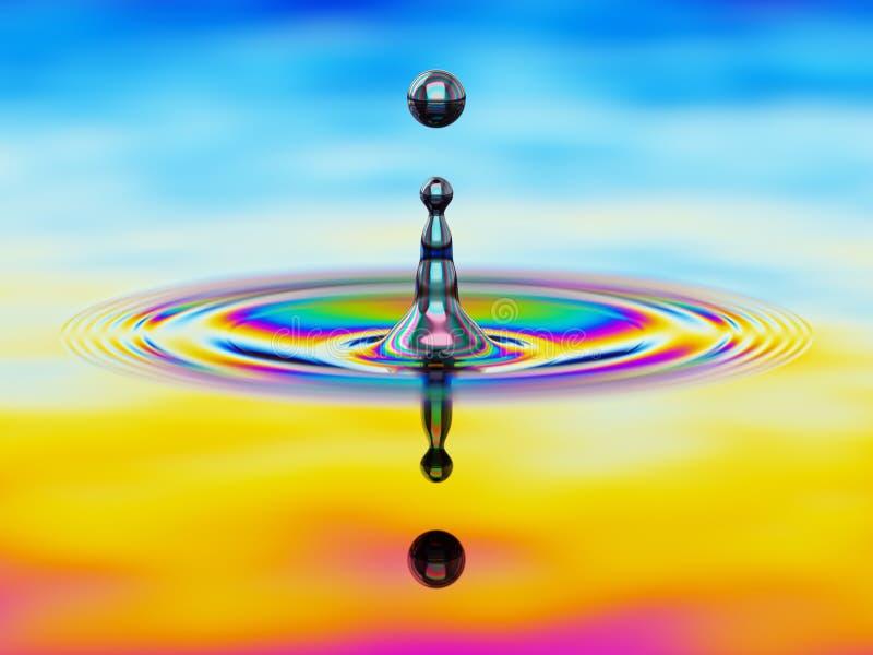 Spritzen der Flüssigkeit mit buntem Ölfilm über Illustration 3d stock abbildung