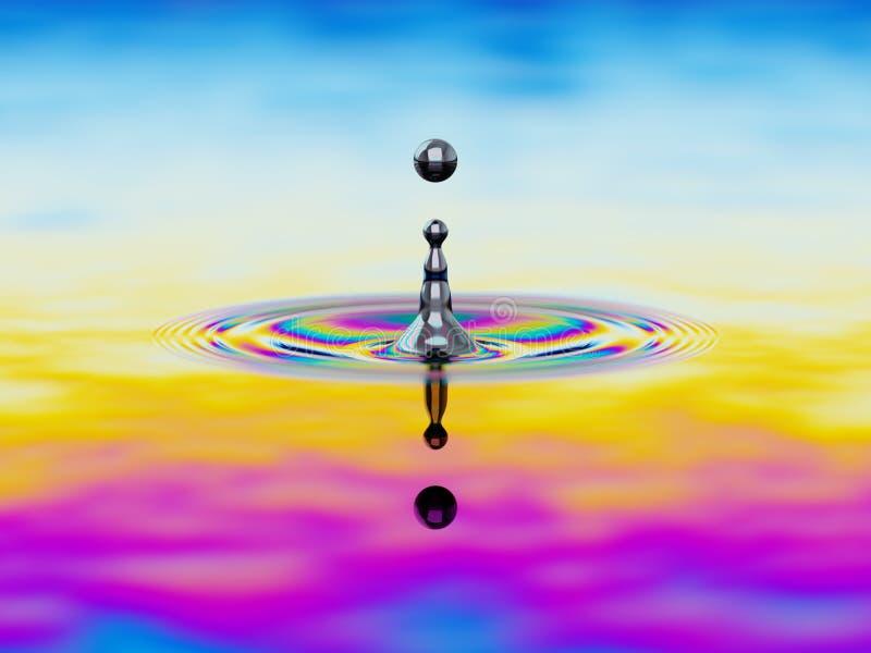 Spritzen der Flüssigkeit mit buntem Ölfilm über Illustration 3d lizenzfreie abbildung