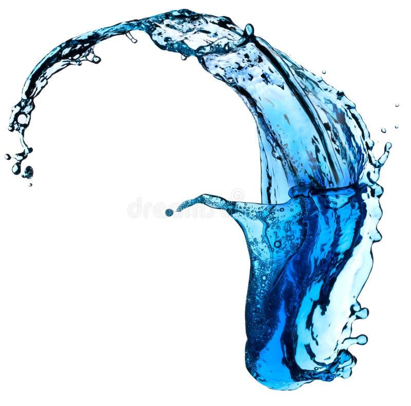 Spritzen des blauen Wassers lizenzfreie stockfotos