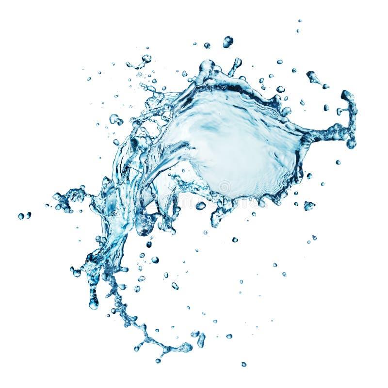 Spritzen des blauen Wassers getrennt stockbilder