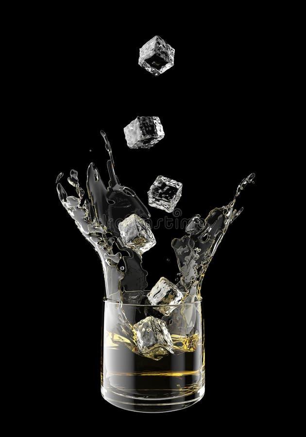 Spritzen des Safts im Glas Lokalisiert auf schwarzem backgr lizenzfreies stockfoto
