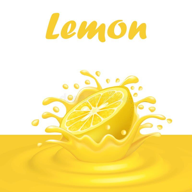 Spritzen des Safts von einer fallenden Zitrone und von den Tropfen vektor abbildung