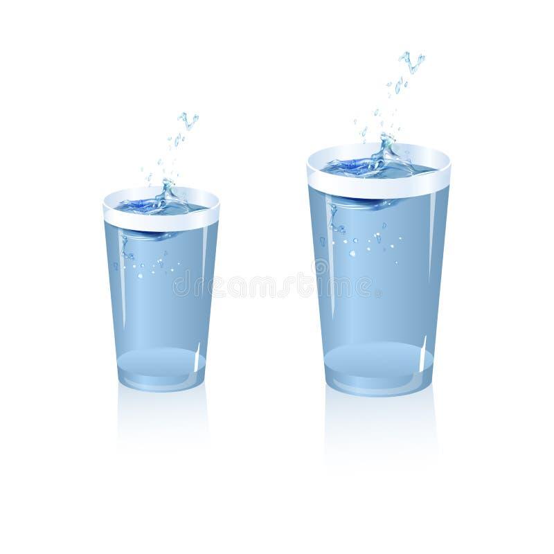 Spritzen des Wassers im Glas lizenzfreie abbildung