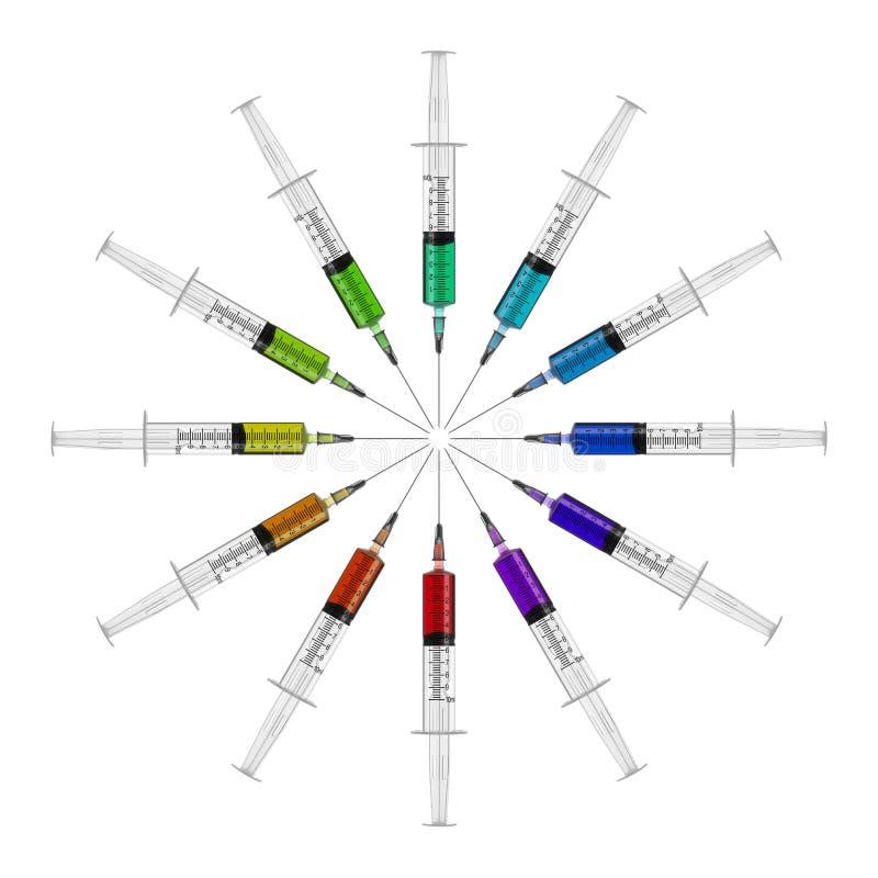 Spritzen in einem Kreis mit farbiger Flüssigkeit lizenzfreie stockbilder