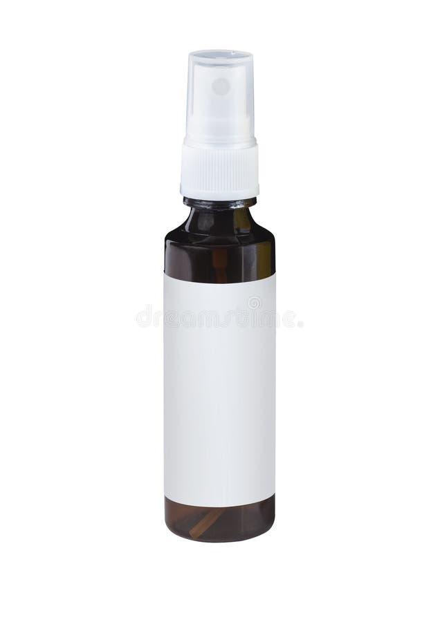 Spritzen Sie braune Plastikflasche mit leerem Aufkleber lizenzfreie stockbilder