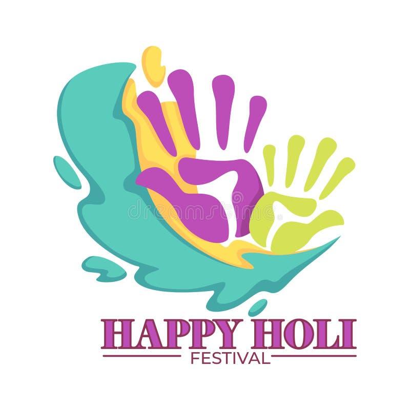 Spritzt die glückliches klaren holi Festival farbigen Palmendrucke lizenzfreie abbildung
