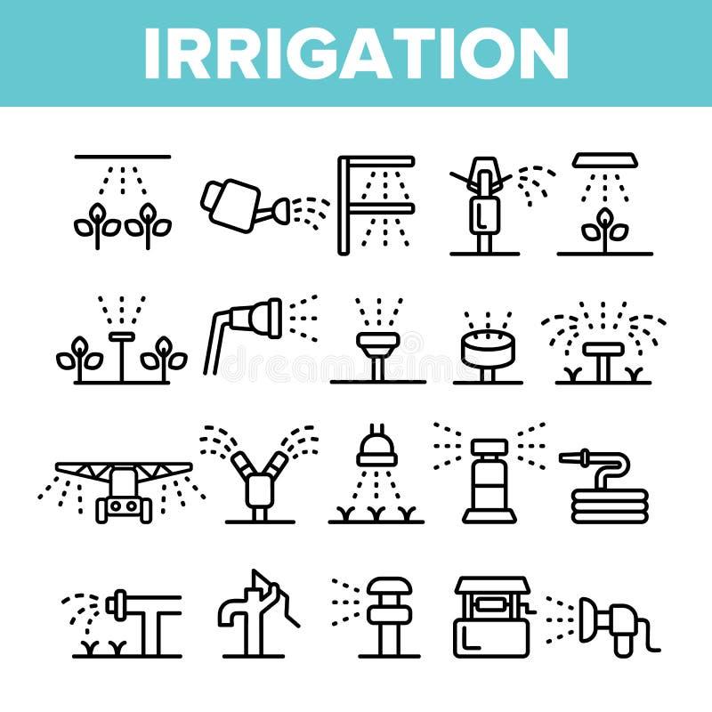 Sproeiers, de Vector Lineaire Geplaatste Pictogrammen van de Irrigatietechnologie vector illustratie