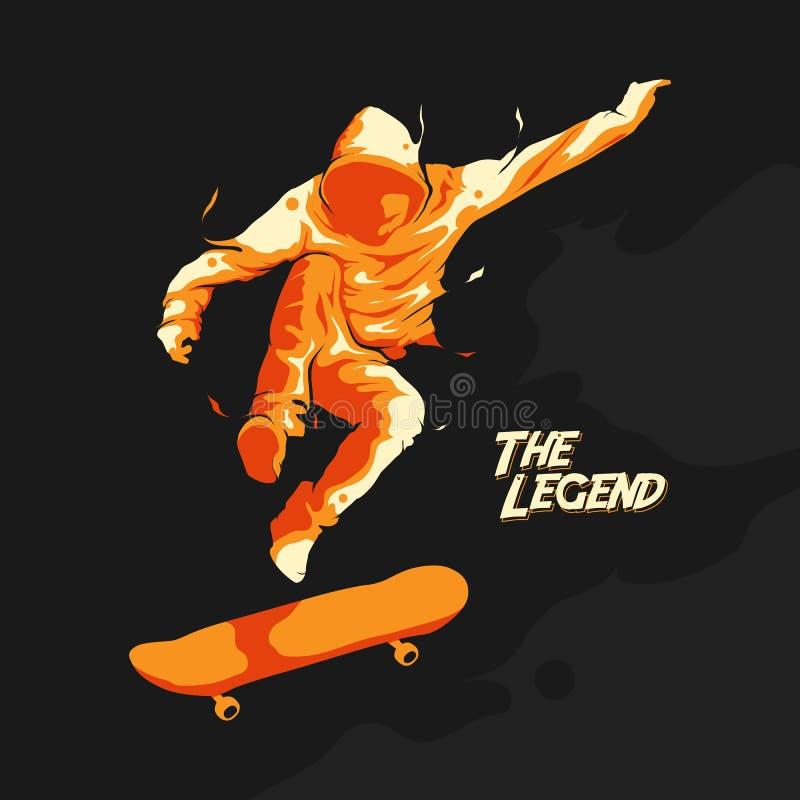 Sprong die silhouet met een skateboard rijden stock illustratie