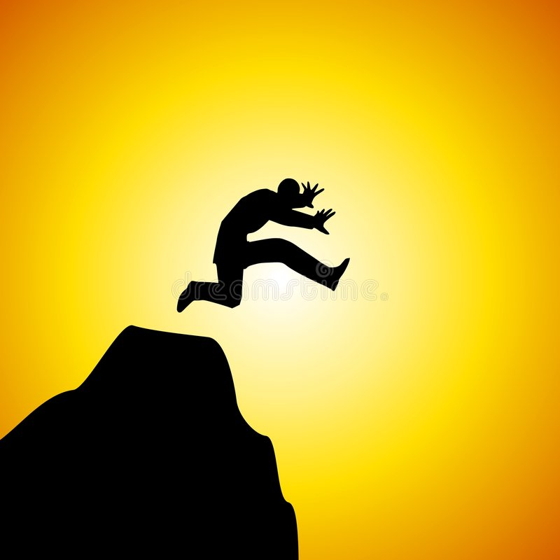 Sprong die van de Mens van het Geloof van Berg springt stock illustratie