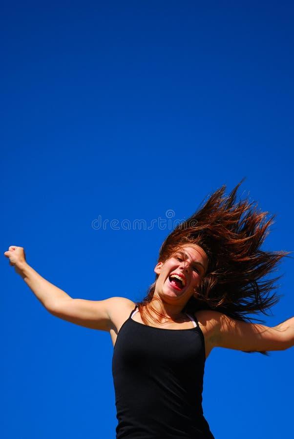 Download Sprong voor vreugdemeisje stock afbeelding. Afbeelding bestaande uit gezichts - 5218703