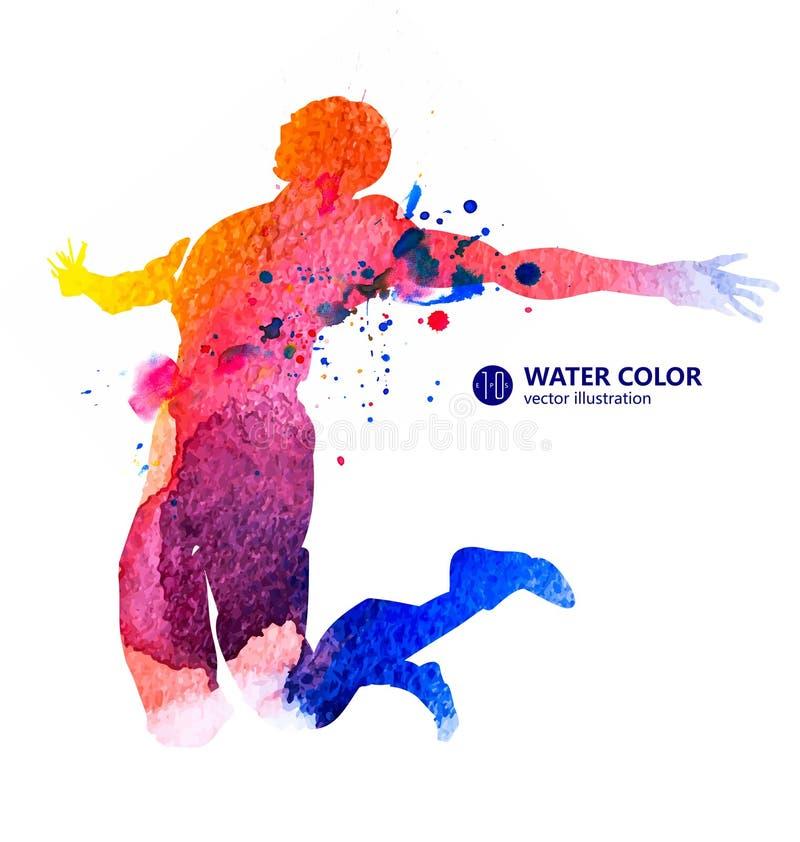 Sprongmens, vectorwaterverfillustraties, Sportenmensen, sporten, springend hoogspringen royalty-vrije stock foto