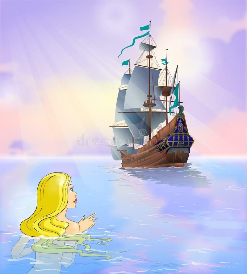 Sprookje 2. De meermin bekijkt een schip. royalty-vrije illustratie