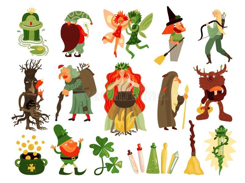 Sprookje Forest Characters Set stock illustratie