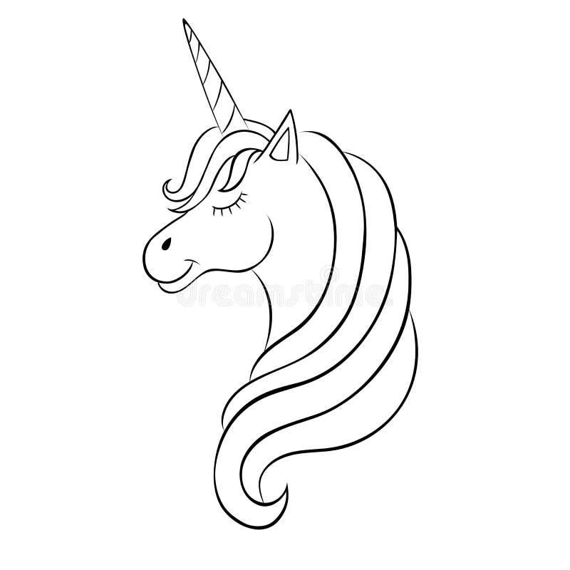 Sprookjeeenhoorn, schets voor het kleuren van boek, fantasieconcept vector illustratie