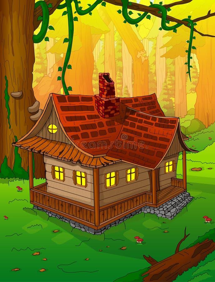 Sprookjehuis in het bos royalty-vrije illustratie