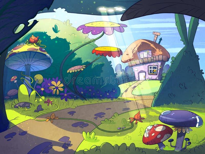 Sprookjehuis in het midden van het verrukte bos stock illustratie
