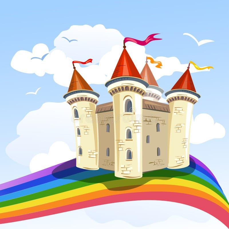 Sprookjekasteel in de wolken en een regenboog royalty-vrije illustratie