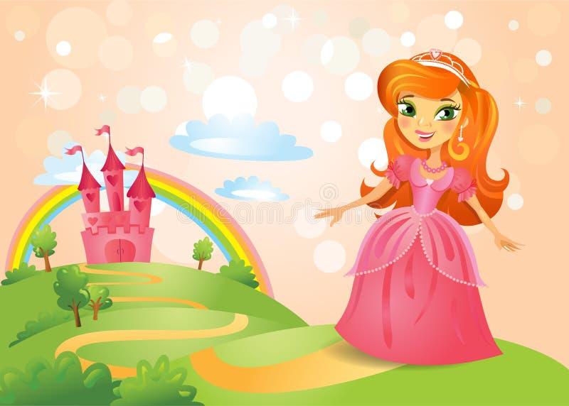 Sprookjekasteel en Mooie prinses stock illustratie