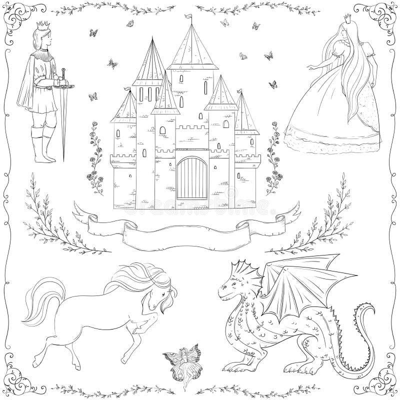 Sprookjethema Prins, prinses, kasteel, draak, fee, paard vector illustratie