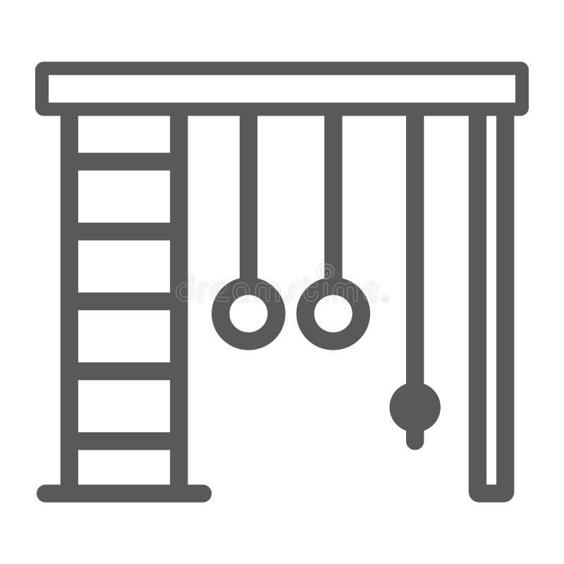 Sprossenwand Linie Ikone, Sport und Haus, Turnhallenzeichen, Vektorgrafik, ein lineares Muster auf einem weißen Hintergrund lizenzfreie abbildung