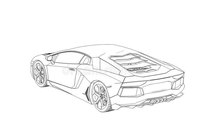 Sprot汽车Lamborghini Aventador剪影 3d例证 皇族释放例证